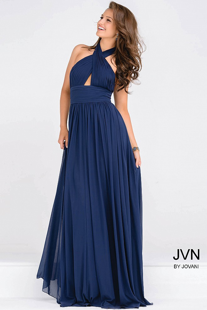 d5f837e9e81 Halter Neck navy ruched bodice empire waist chiffon flowy prom dress.