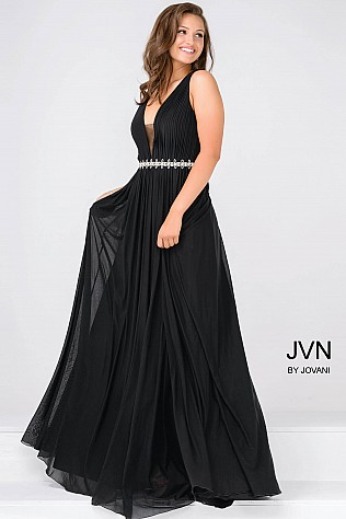 Black Embellished Waistline Sleeveless Chiffon Dress JVN47776