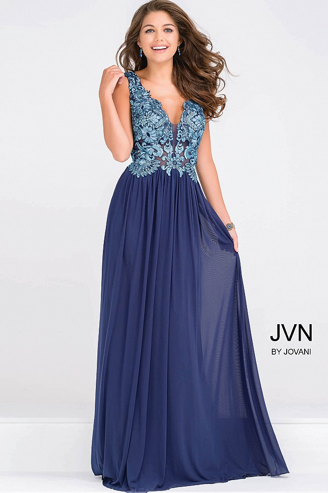 Blue Embroidery Bodice Plunging Neckline Dress JVN47781