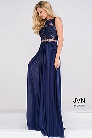 Navy Sheer Bodice Empire Waist Chiffon Dress JVN47788