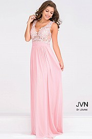 Pink Empire Waist Plunging Neckline Mesh Dress JVN47791
