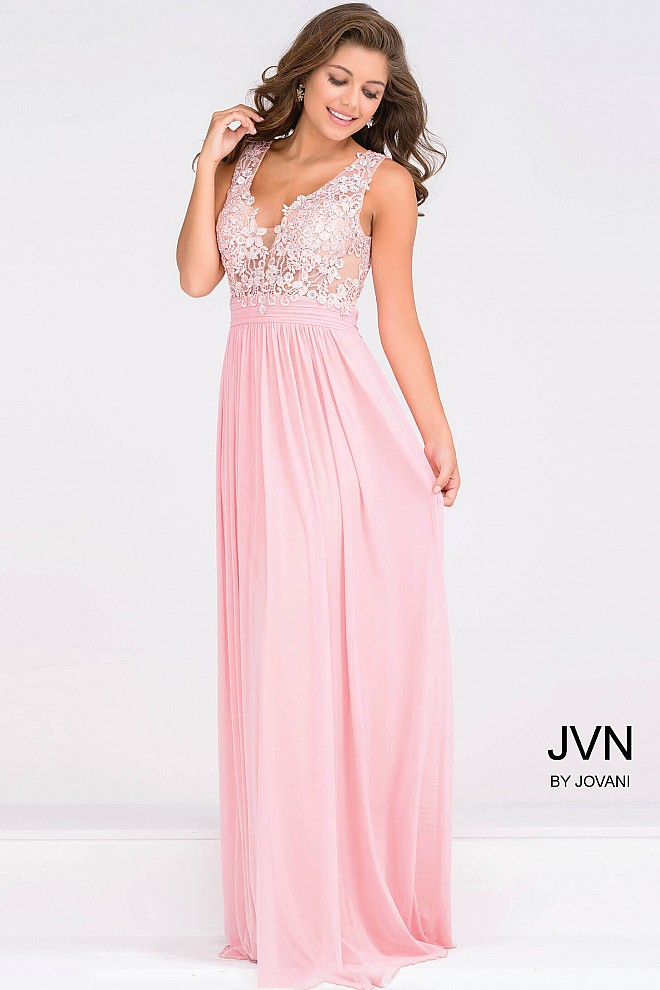 Sleeveless pink embroidery bodice and empire waist plunging neckline ...