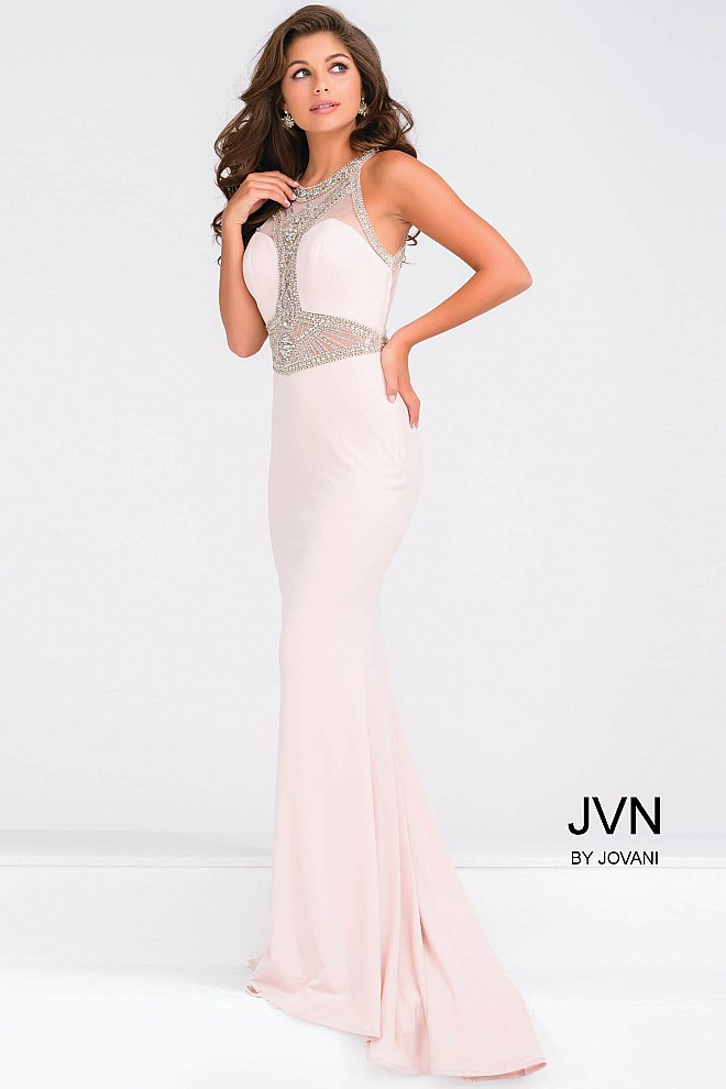 Blush Crystal Embellished Sheer Neckline Jersey Dress JVN47792