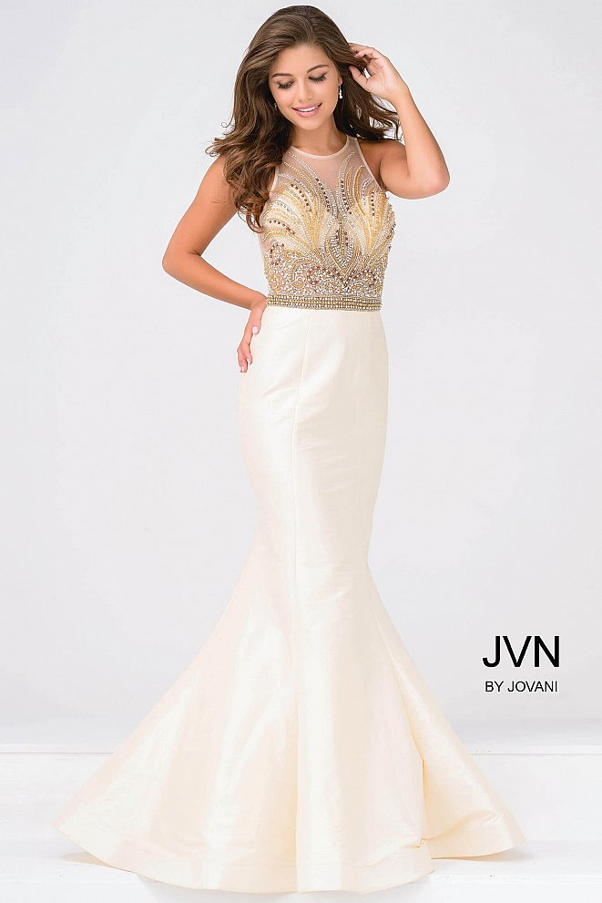 Nude Embellished Bodice Mermaid Prom Dress JVN47813