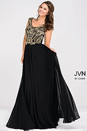 Black and Gold Cap Sleeve Chiffon Empire Waist Dress JVN47895