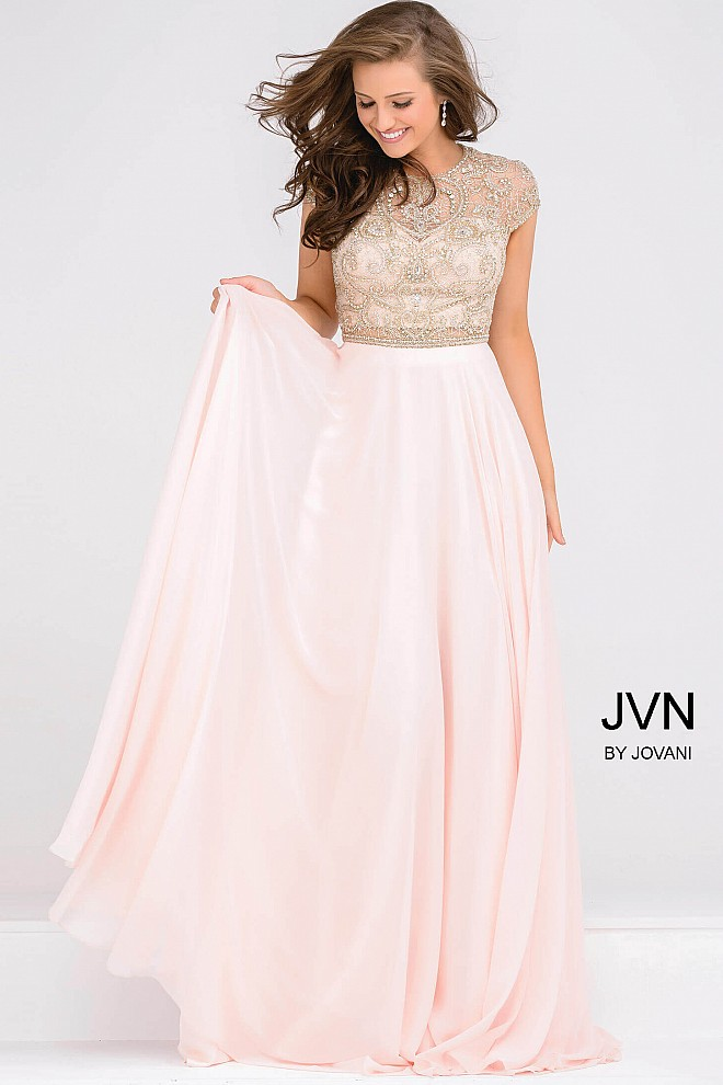 Pink Cap Sleeve Crystal Embellished Bodice Chiffon Bridesmaid Dress JVN47897