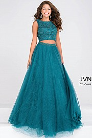 Emerald Green Embellished Bodice Two Piece Prom Ballgown JVN47919