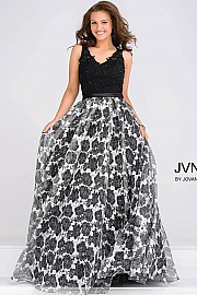 Embellished Bodice Floral Print Prom Ballgown JVN47921