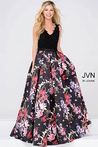 Black and Multi Pleated Floral Skirt Prom Ballgown JVN47924