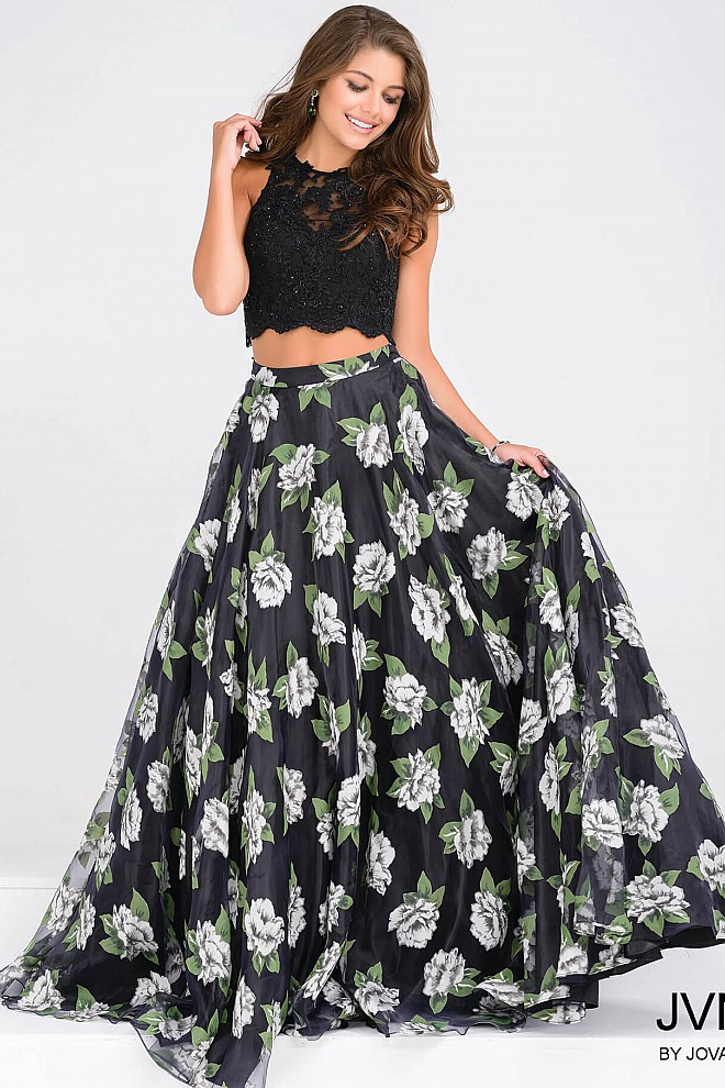 Black and Multi Two-Piece Lace Bodice Prom Ballgown JVN48101