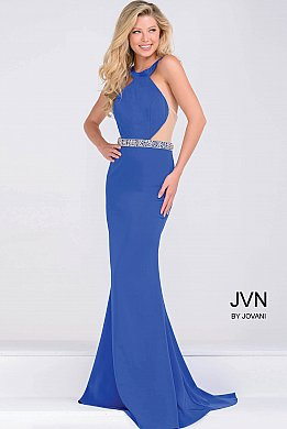 Royal Blue Jersey High Neck Fitted Dress  JVN48492