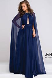 Navy Crystal Jeweled Neckline Chiffon Prom Dress JVN48493