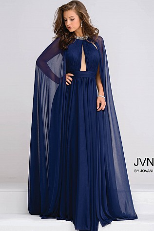 Navy Crystal Jeweled Neckline Chiffon Prom Dress JVN48493