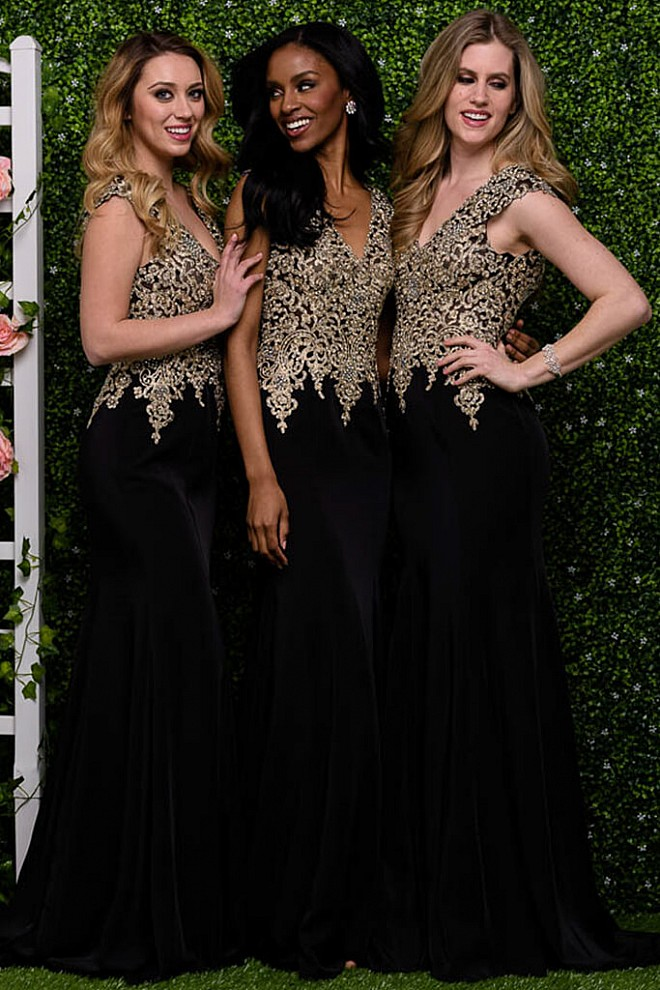 Black and Gold Bridesmaid Dresses