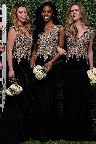 Black Cap Sleeve Lace Bodice Bridesmaid Dress JVN48496