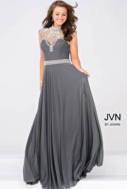 Gunmetal Sheer Embellished Neckline Mesh Prom Dress JVN48641
