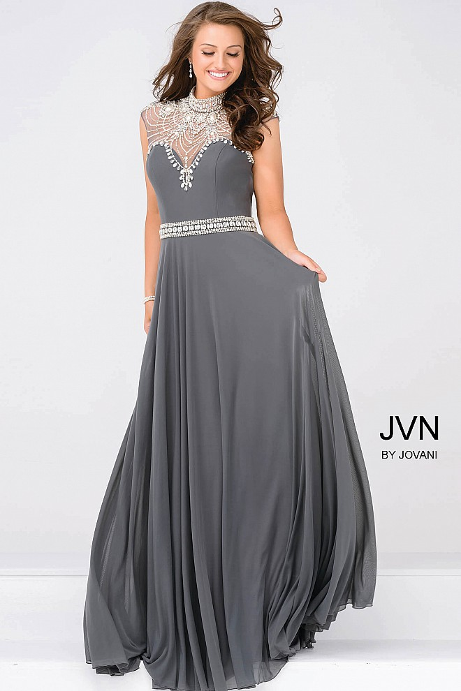 Gunmetal Sheer Embellished Neckline Mesh Prom Dress JVN48641