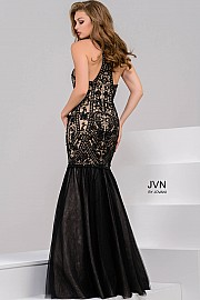 Black Mermaid Halter Neck Lace Prom Dress JVN48702
