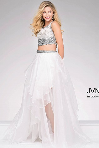 Ivory Two Piece Beaded Bodice Prom Dress JVN48706