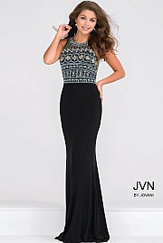 Black Embellished Bodice Fitted  Jersey Prom Dress JVN48707