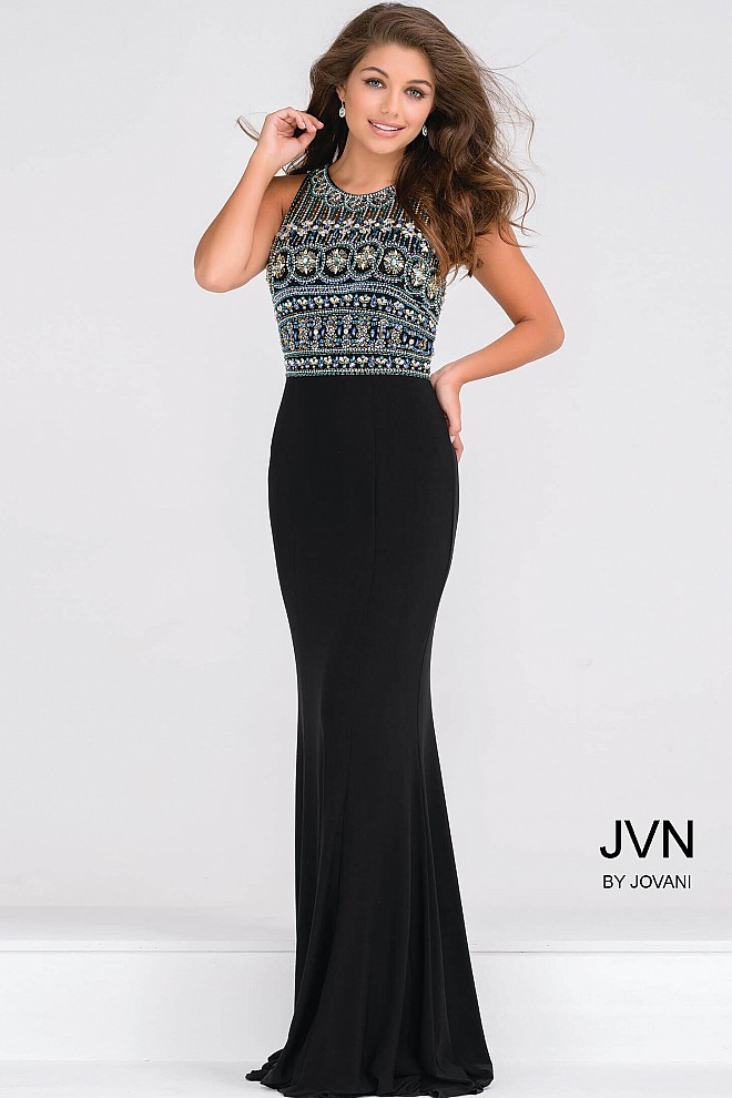 Black Fit Jersey Long Prom Dress With Multi Color Beading On The Top
