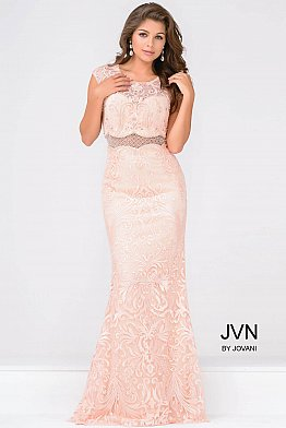 Pink Lace Cap Sleeve Fitted Prom Dress JVN48712