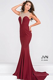 Burgundy Embellished Neckline Jersey Fitted Dress JVN48834