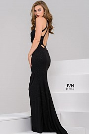 Black Sweetheart Neck Open Back Prom Dress JVN49132