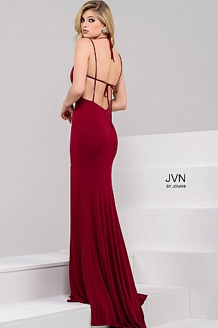 Red Halter Neck High Slit Prom Dress JVN49352