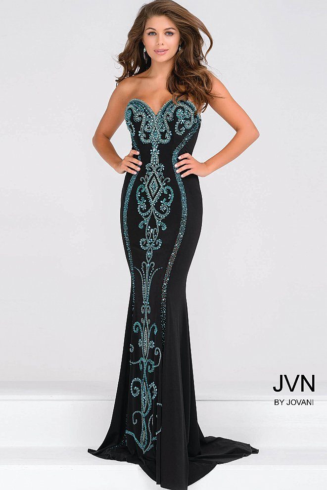 Black Strapless Jersey Fitted Prom Dress with Teal Beading JVN49357