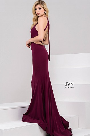 Burgundy Halter Neck Jersey Dress JVN49373