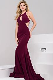 Burgundy Halter Neck Jersey Dress JVN49373