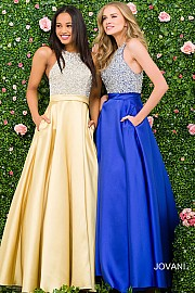 Royal Blue Embellished Bodice A line Bridesmaid Dress JVN49432