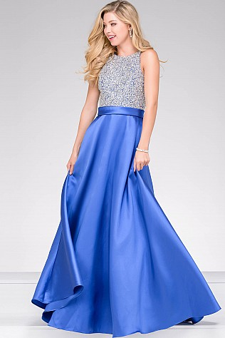 Royal Blue Embellished Bodice A line Prom Dress JVN49432