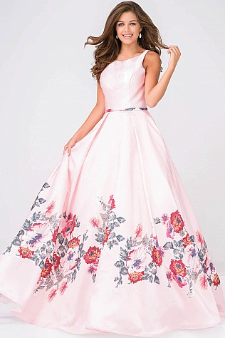 Pink Multi Sleeveless Pleated Prom Ballgown JVN49478