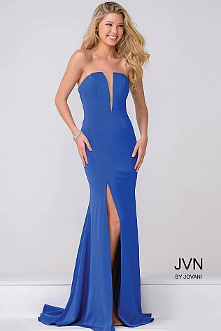 Royal Blue Plunging Neckline High Slit Prom Dress JVN49580