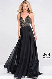 Black Spaghetti Strap Embellished Bodice Chiffon Dress JVN49647