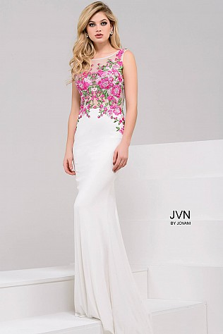 White Multi Floral Applique Open Back Dress JVN50045