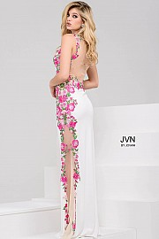 White Multi Jersey Floral Dress with Illusion Back JVN50049