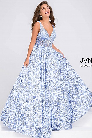 White and Blue Embroidered Bodice Prom Ballgown JVN50050