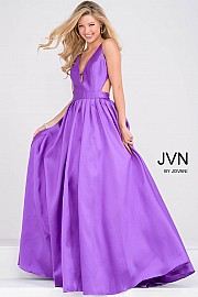 Purple Mikado Pleated Skirt and Side Cut Out Long Bridesmaid Dress JVN50071