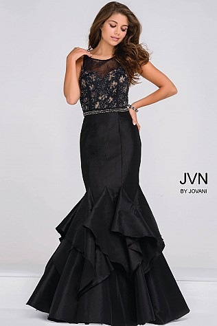 Black Sleeveless Sheer Embellished Neckline Mermaid Dress JVN50200
