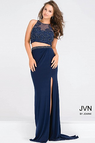 Navy Embellished Bodice Two Piece High Slit Dress JVN50203