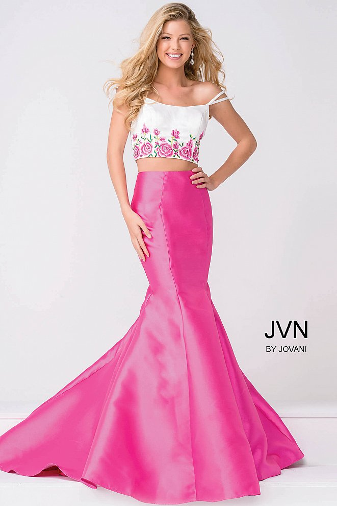 White and Pink Two Piece Mermaid Prom Dress JVN50204