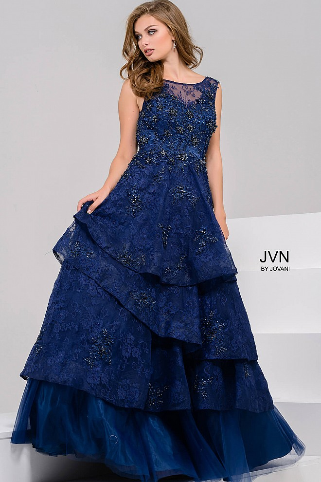 navy sleeveless sheer neckline beaded lace layered ballgown with ...