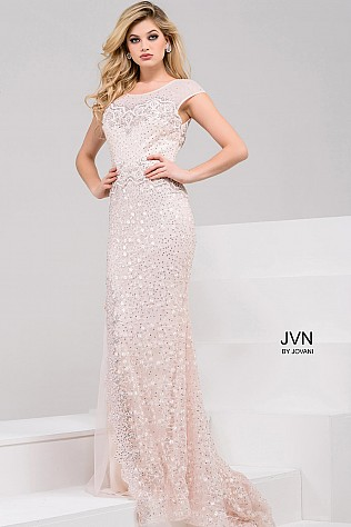Blush Sheer Neckline Cap Sleeve Beaded Evening Dress JVN60007