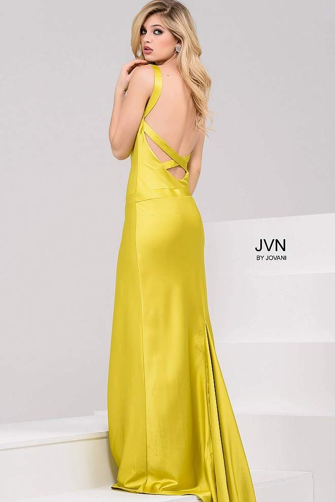 Yellow Silk Satin Strapless Sexy Prom Dress With Open Back And Long