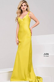 Yellow Silk Satin V Neck Open Back Prom Dress JVN50366