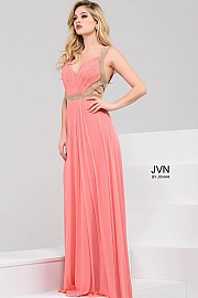 Pink Ruched Bodice Beaded Prom Dress JVN50369