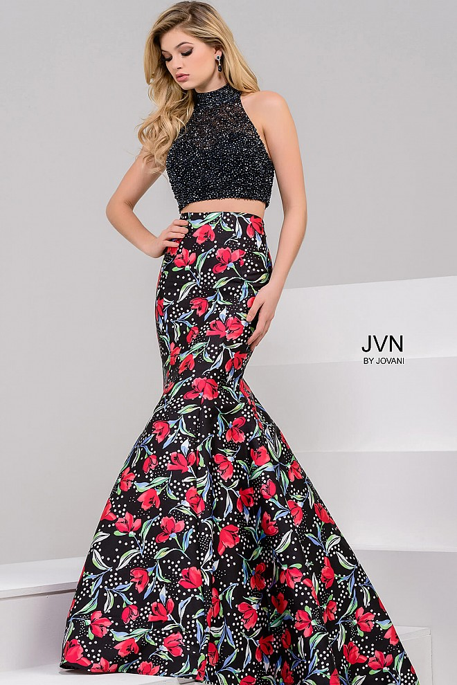Black Multi Two Piece Mermaid Prom Dress JVN50376